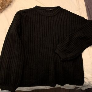 Ribbed Balloon Sleeve Knitted Top